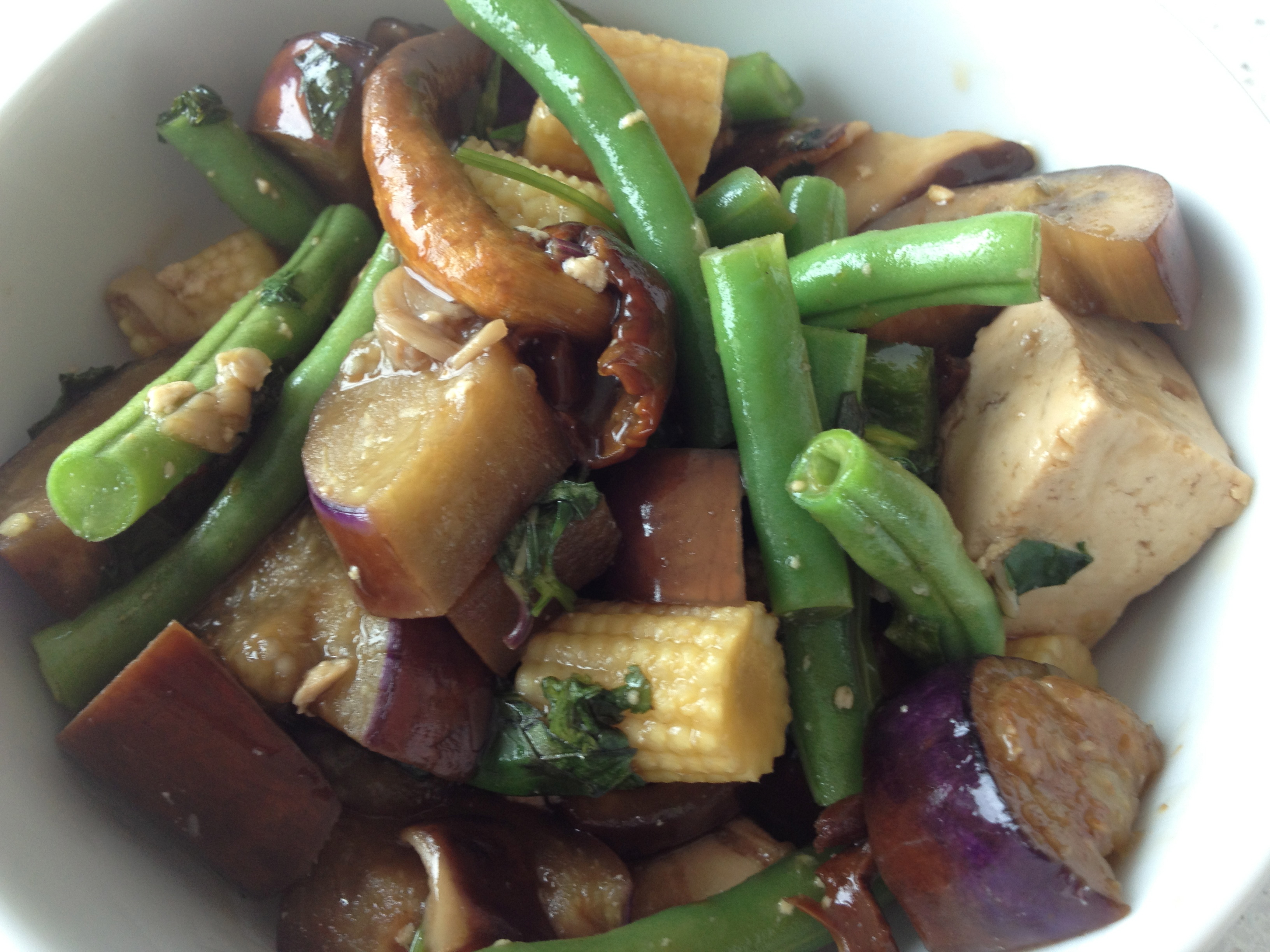 Asian Inspired Eggplant, Green Beans and Basil