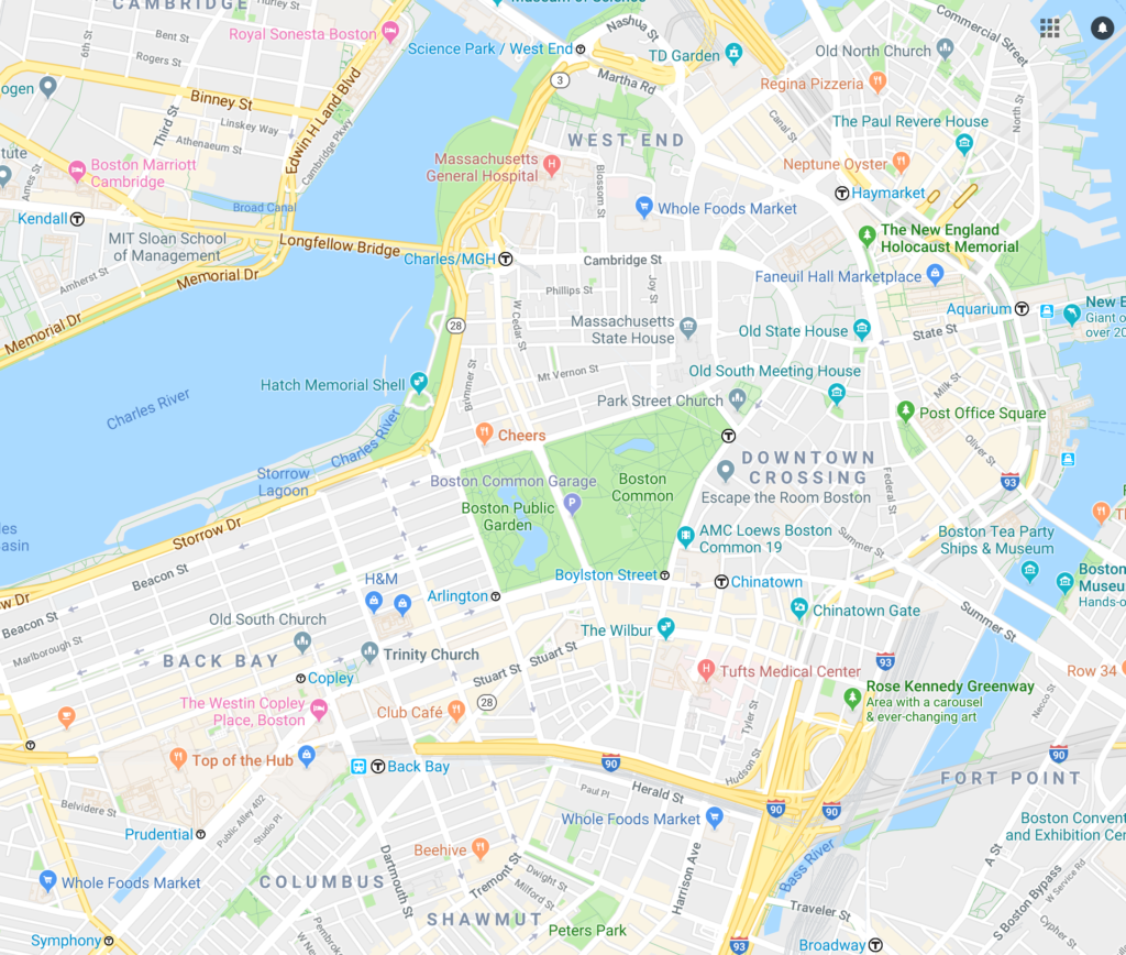 Boston Public Garden and Map